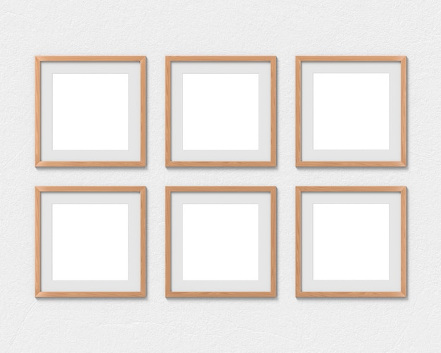 Set of 6 square wooden frames with a border hanging on the wall. 3d rendering.