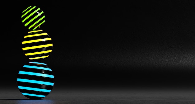 A set of abstract colored spheres on a dark background. 3d rendering.