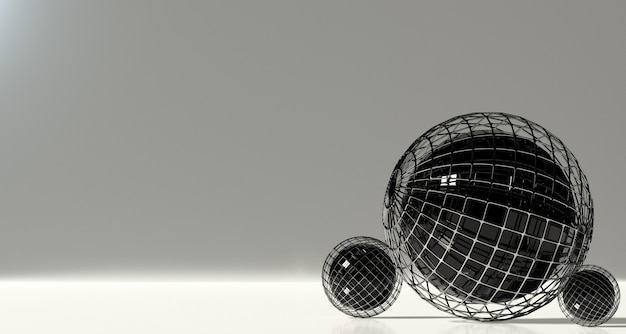 Set of abstract spheres on a gray background. 3d rendering.