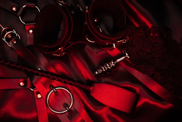 Set of accessories for bdsm sex with domination and submission