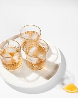 Set of alcoholic drinks on plain background