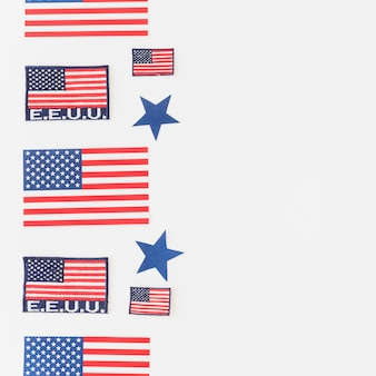 Set of american flags on light background