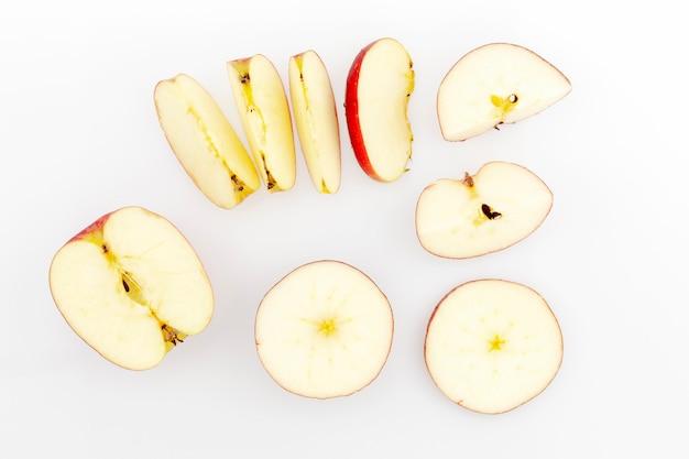 Set of apple slices isolated on white background