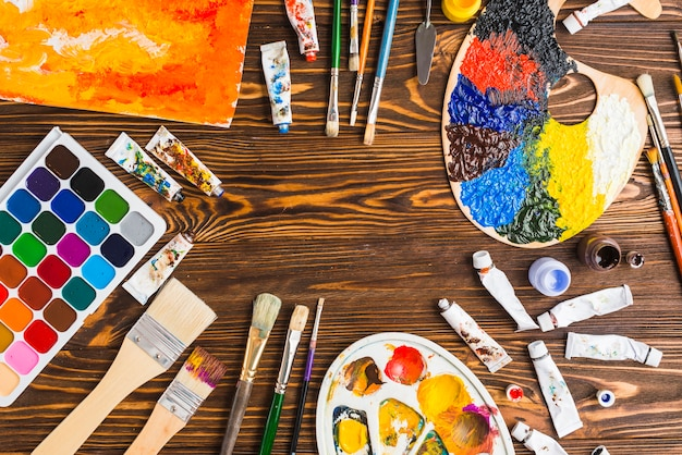 Set of artsupplies and abstract painting