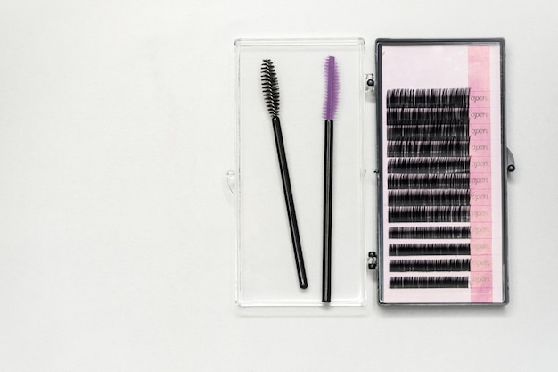 Set of artificial eyelashes for extensions.