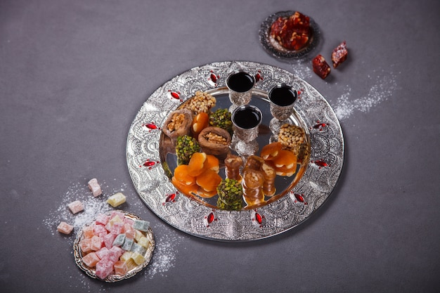 Set of assorted traditional eastern desserts