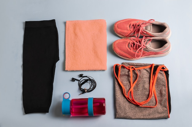 Set of athlete's sportswear and accessories