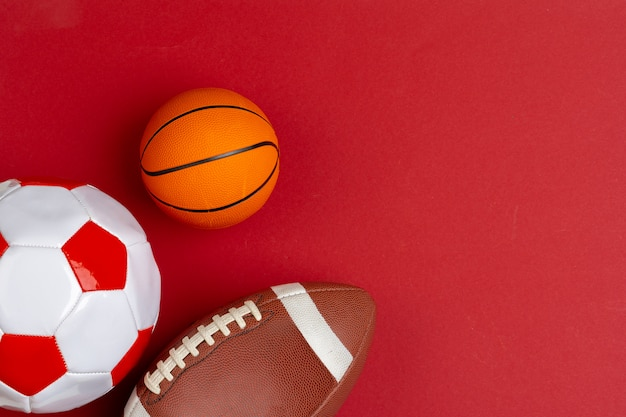 Set of balls for soccer, basketball and rugby