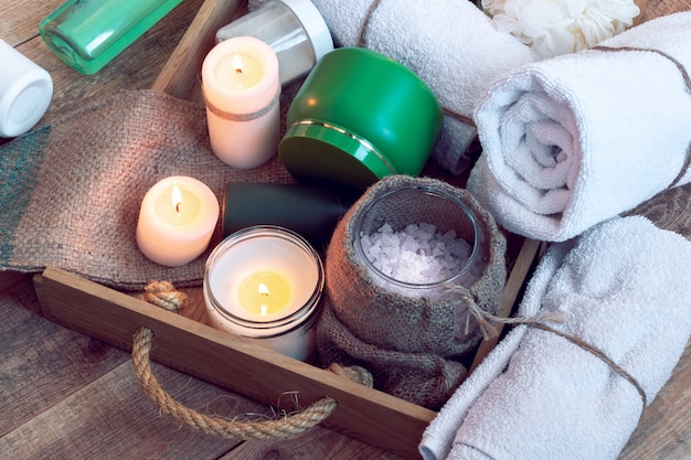 Set of bathhouse accessories for spa