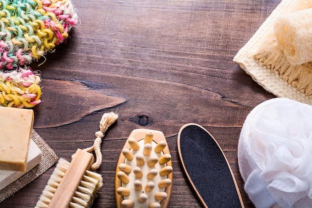Set of bathroom items on vintage wooden boards