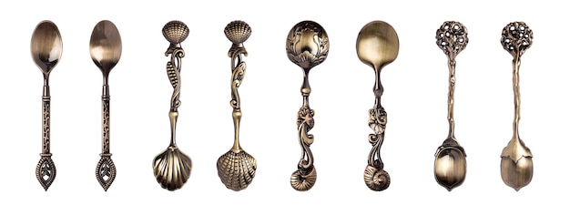 Set of beautiful dessert or teaspoons on a white background. isolated object