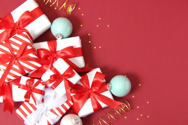 Set of beautifully wrapped gift boxes and christmas decor