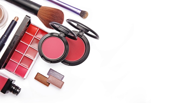Set of beauty products isolated on white