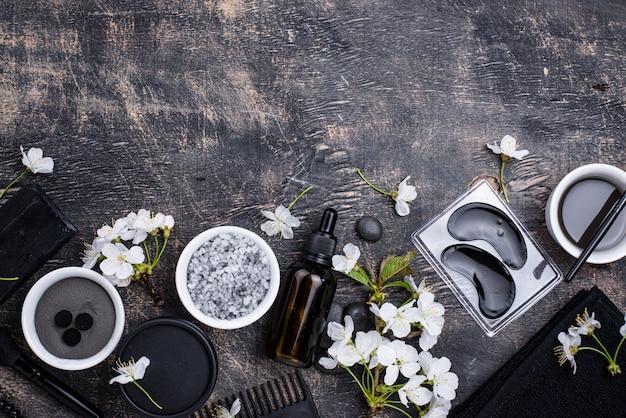 Set of black charcoal detox cosmetics