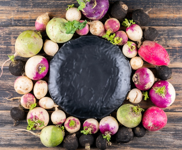 Set of black elegant plate and fresh different color radishes