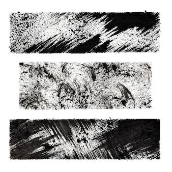 Set of black grunge stenciled rectangles -  background for your own text - raster illustration