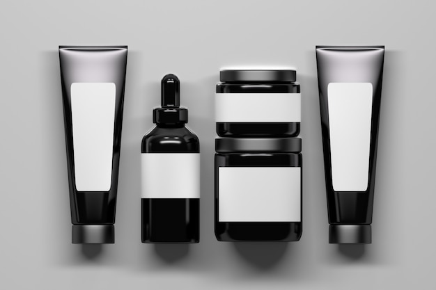 Set of black shiny cosmetics bottles packaging with white labels. bottles with empty blank space. 3d illustration.