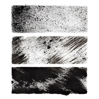 Set of black stenciled rectangles -  space for your own text - raster illustration