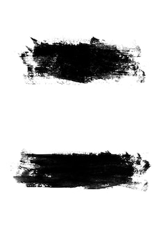 Set black strokes of paint isolated on a white background. design brush