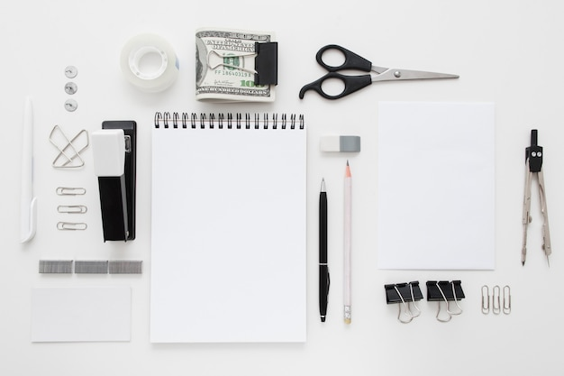 Set of black and white office supplies