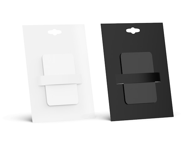 Set of blank gift cards in black and white, side view
