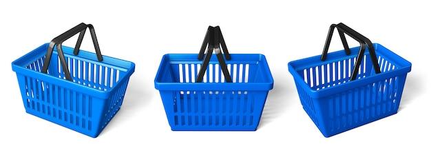 青い買い物かごを設定します。白い背景で隔離。 3dレンダリング。