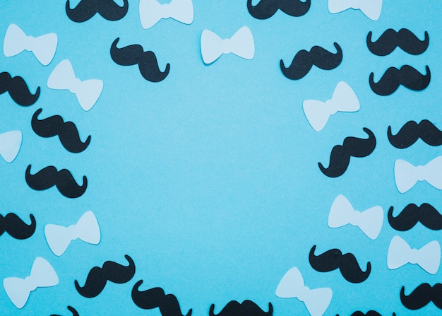 Set of bow ties and mustaches