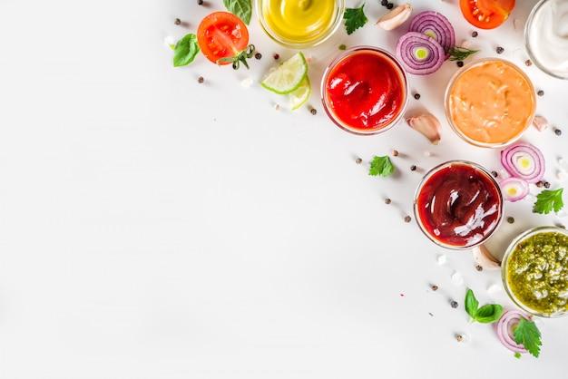 Set bowls of various dip and sauces