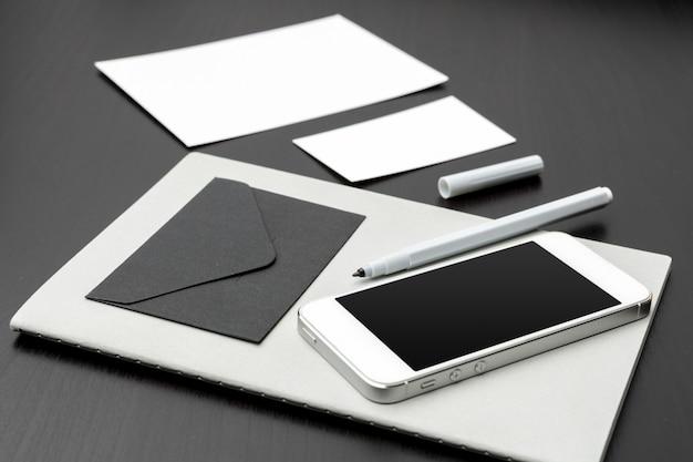 Set of branding elements on deep black
