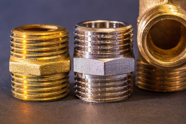 Set of brass fittings is often used to connect for water and gas installations