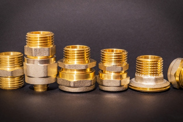 Set of brass fittings is often used for water and gas installations