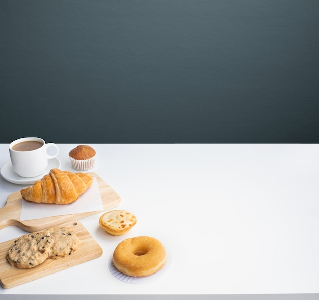 Set of breakfast food or bakery and coffee on table kitchen background