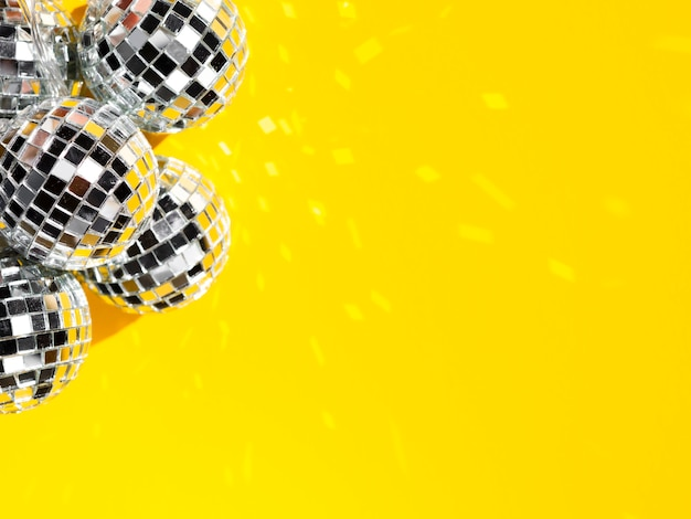 Set of bright disco globes with copy space