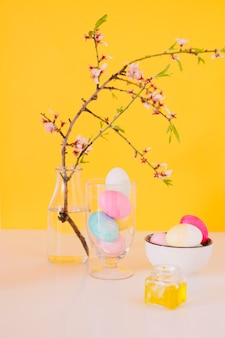 Set of bright easter eggs near flower twig in vase with water and dye liquid