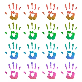 Set of bright handprints