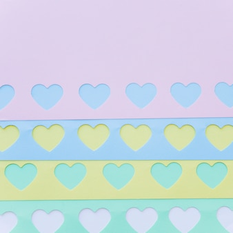 Set of bright paper hearts