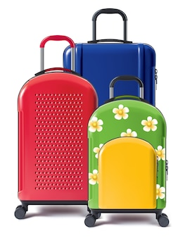 Set of bright wheeled suitcases 3d illustration