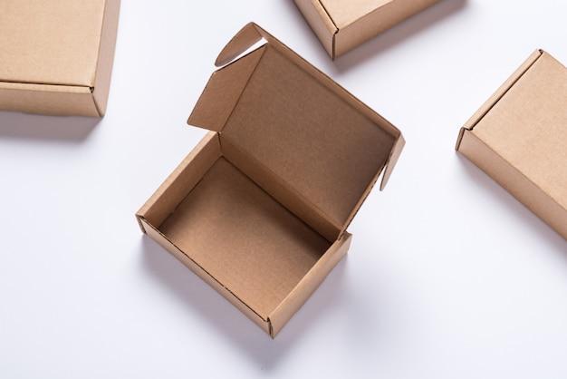 Set of brown cardboard boxes