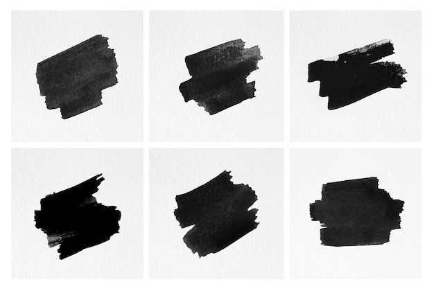 Set of brush strokes isolated