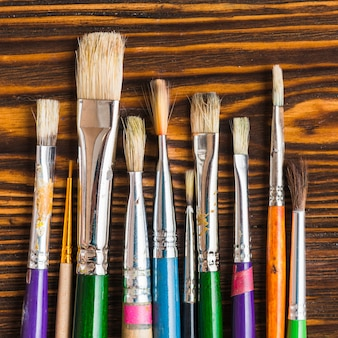 Set of brushes on table