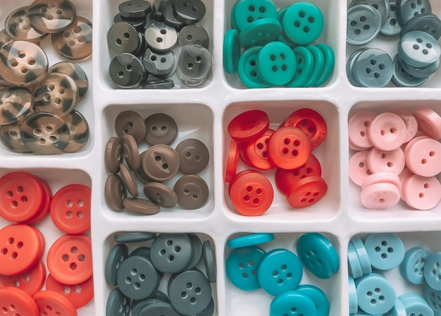 A set of buttons for sewing in different colors arranged in cells.  sewing fittings and accessories.