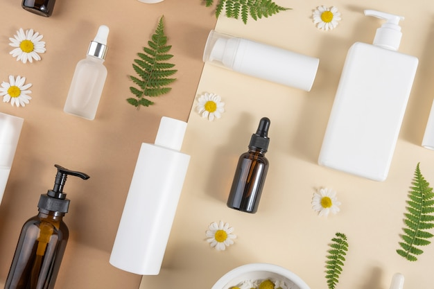 Set of care cosmetics. various bottles, tubes with cosmetic, chamomile flowers, fern leaves on a beige