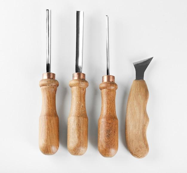 Set of carpenter's tools on white