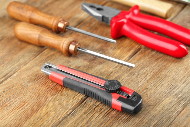 Set of carpenter's tools on wooden