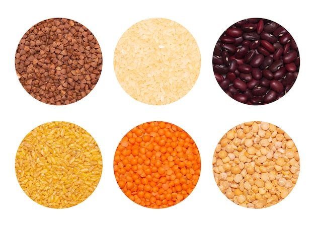 Set of cereals isolated on white