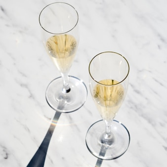 Set of champagne glasses on the table