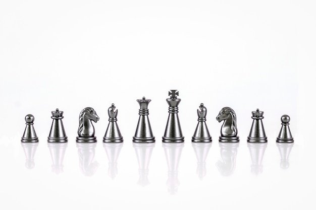 Set of chess figures isolated on the white background