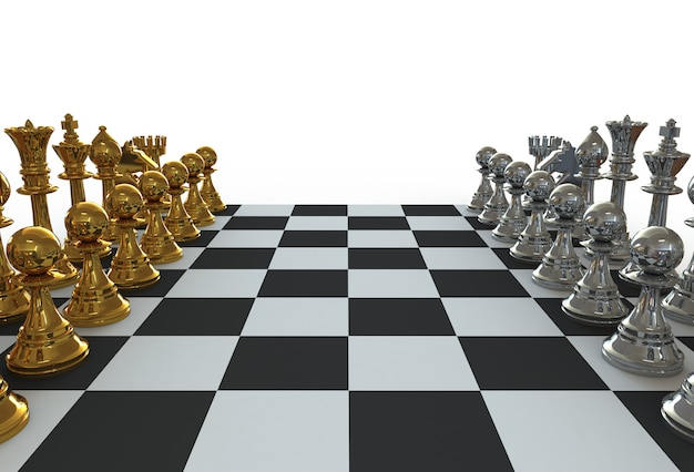 Set of chess figures on the playing board on white