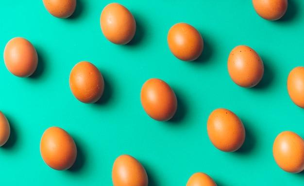 Set of chicken eggs on board
