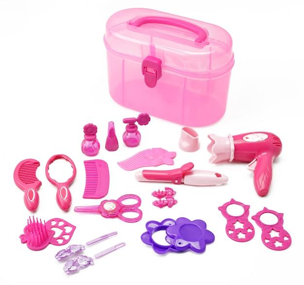 Set of children's toy for girls game hairdressing kit for girls isolated on white